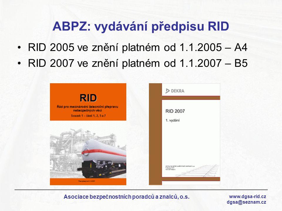 ABPZ: vydávání předpisu RID