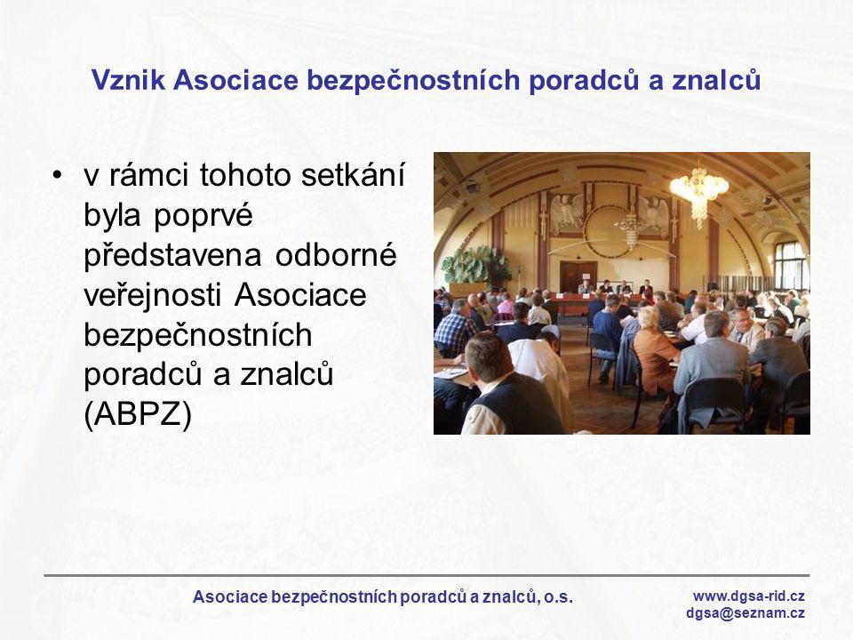 Vznik Asociace bezpečnostních poradců a znalců