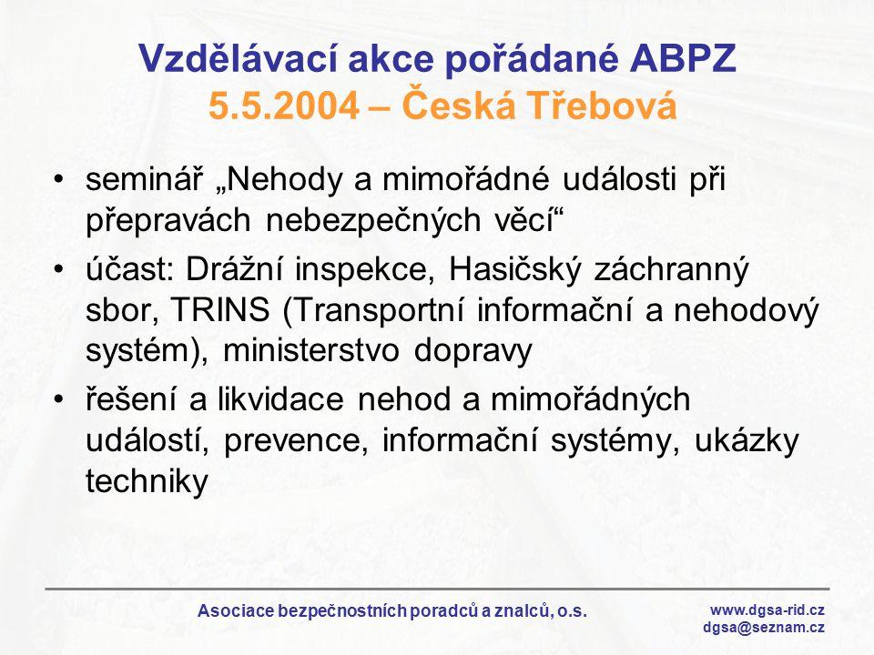 Vzdělávací akce pořádané ABPZ 5.5.2004 – Česká Třebová