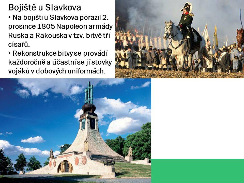 Bojiště u Slavkova Na bojišti u Slavkova porazil 2. prosince 1805 Napoleon armády Ruska a Rakouska v tzv. bitvě tří císařů.