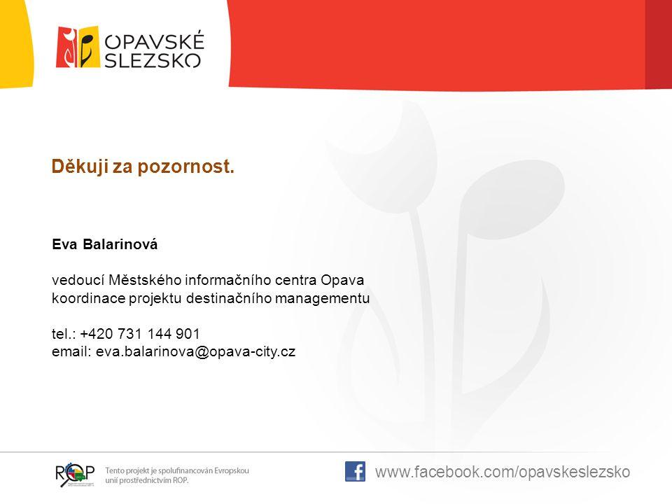 Děkuji za pozornost. www.facebook.com/opavskeslezsko Eva Balarinová