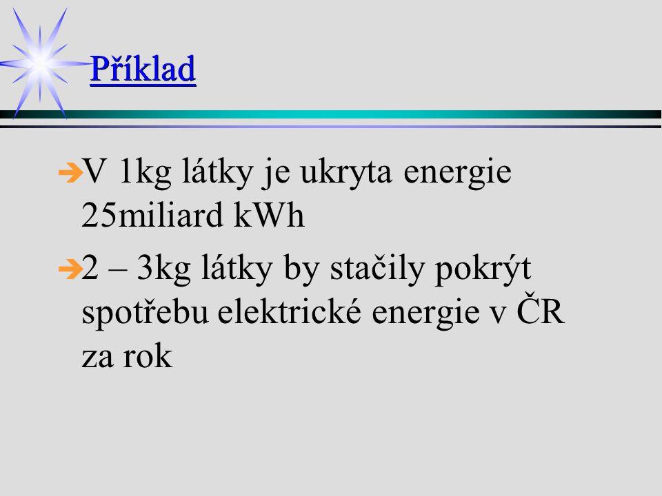 Příklad V 1kg látky je ukryta energie 25miliard kWh.