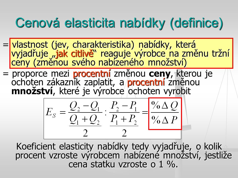 Cenová elasticita nabídky (definice)