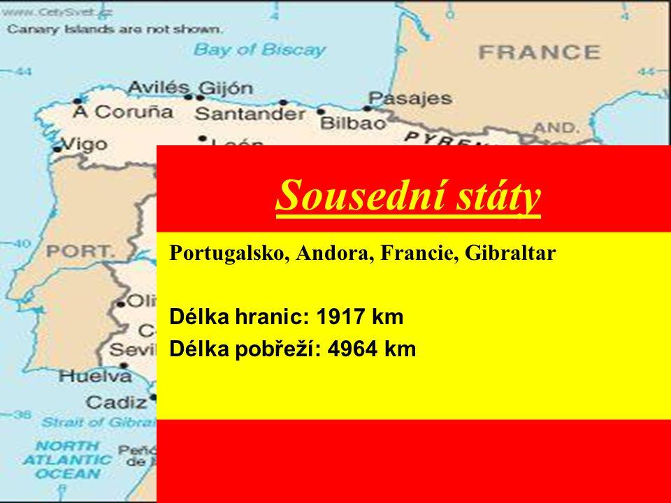 Sousední státy Portugalsko, Andora, Francie, Gibraltar