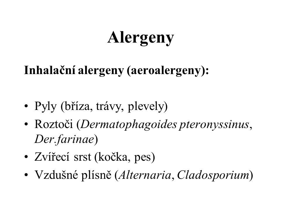Alergeny Inhalační alergeny (aeroalergeny):