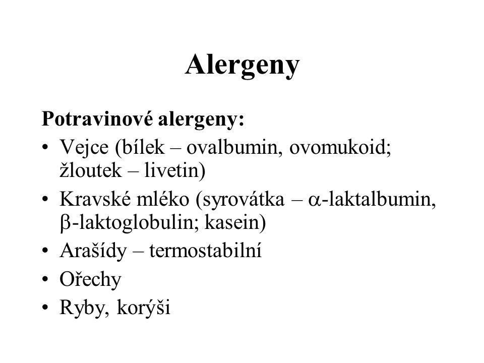 Alergeny Potravinové alergeny: