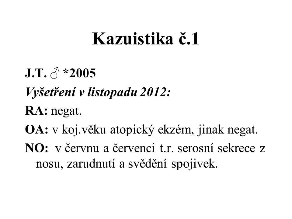Kazuistika č.1 J.T. ♂ *2005 Vyšetření v listopadu 2012: RA: negat.