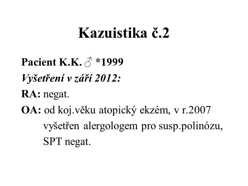 Kazuistika č.2 Pacient K.K. ♂ *1999 Vyšetření v září 2012: RA: negat.