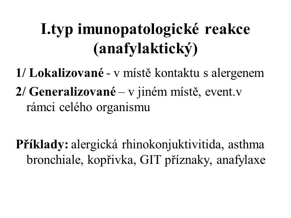I.typ imunopatologické reakce (anafylaktický)