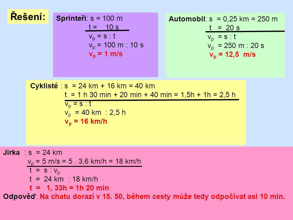 Řešení: Sprinteři: s = 100 m Automobil: s = 0,25 km = 250 m t = 10 s