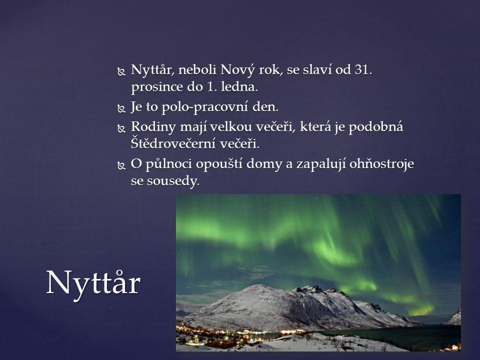 Nyttår Nyttår, neboli Nový rok, se slaví od 31. prosince do 1. ledna.