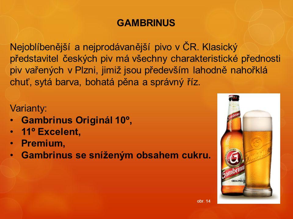 Gambrinus se sníženým obsahem cukru.