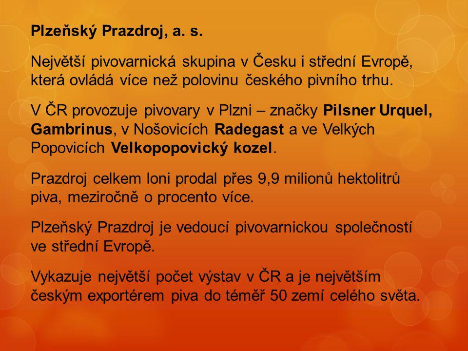 Plzeňský Prazdroj, a. s. Největší pivovarnická skupina v Česku i střední Evropě, která ovládá více než polovinu českého pivního trhu.
