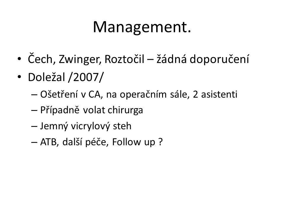 Management. Čech, Zwinger, Roztočil – žádná doporučení Doležal /2007/