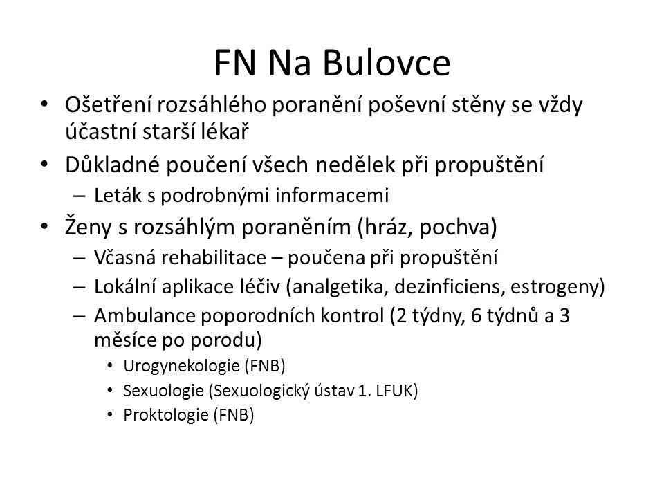 FN Na Bulovce Ošetření rozsáhlého poranění poševní stěny se vždy účastní starší lékař. Důkladné poučení všech nedělek při propuštění.