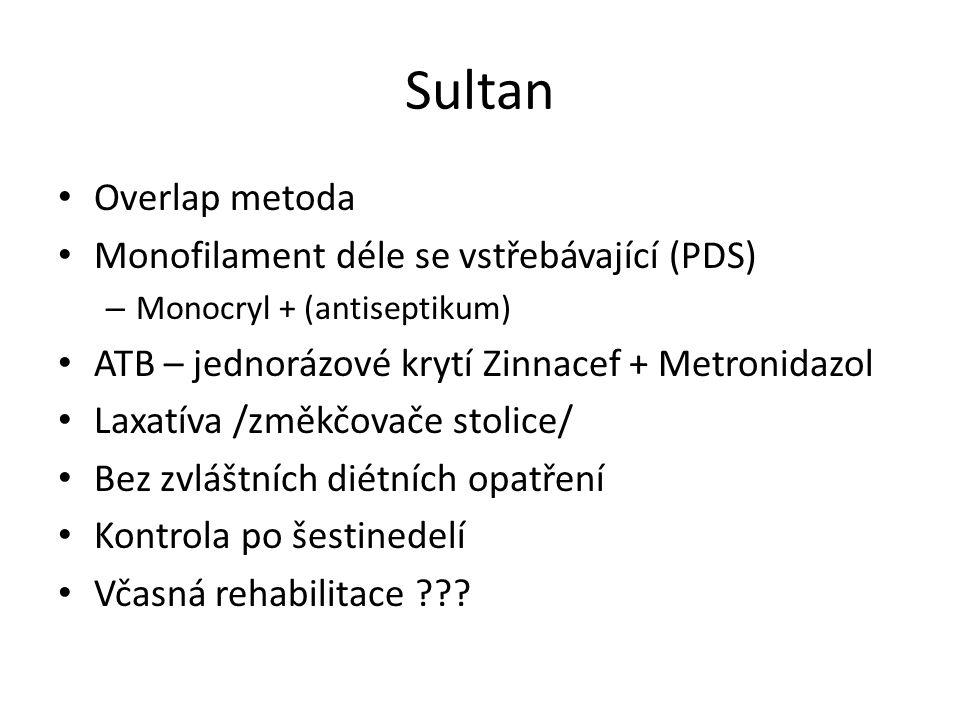 Sultan Overlap metoda Monofilament déle se vstřebávající (PDS)