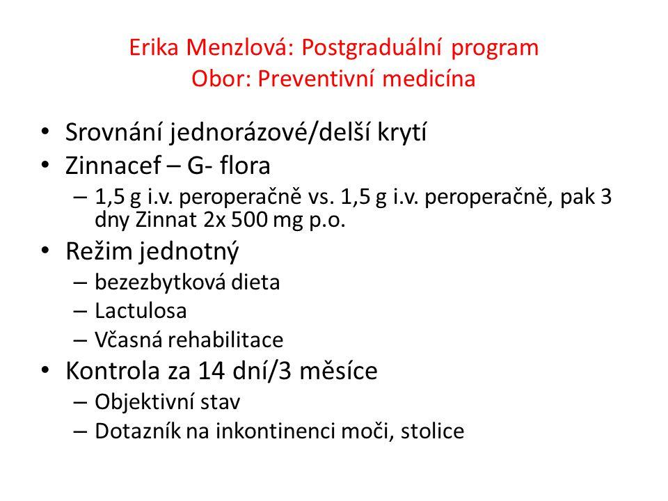Erika Menzlová: Postgraduální program Obor: Preventivní medicína