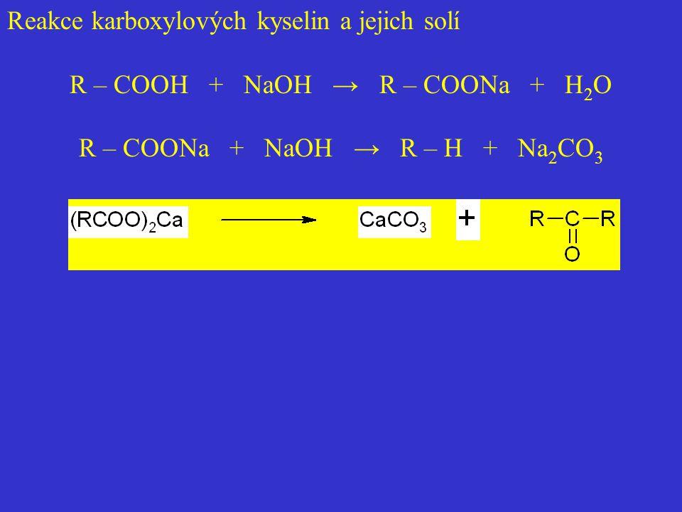 Reakce karboxylových kyselin a jejich solí
