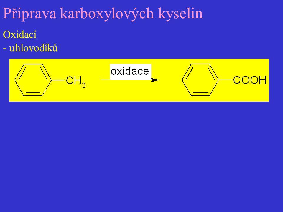 Příprava karboxylových kyselin