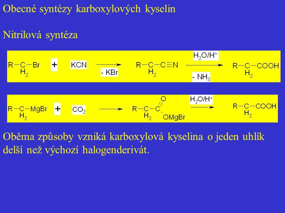Obecné syntézy karboxylových kyselin