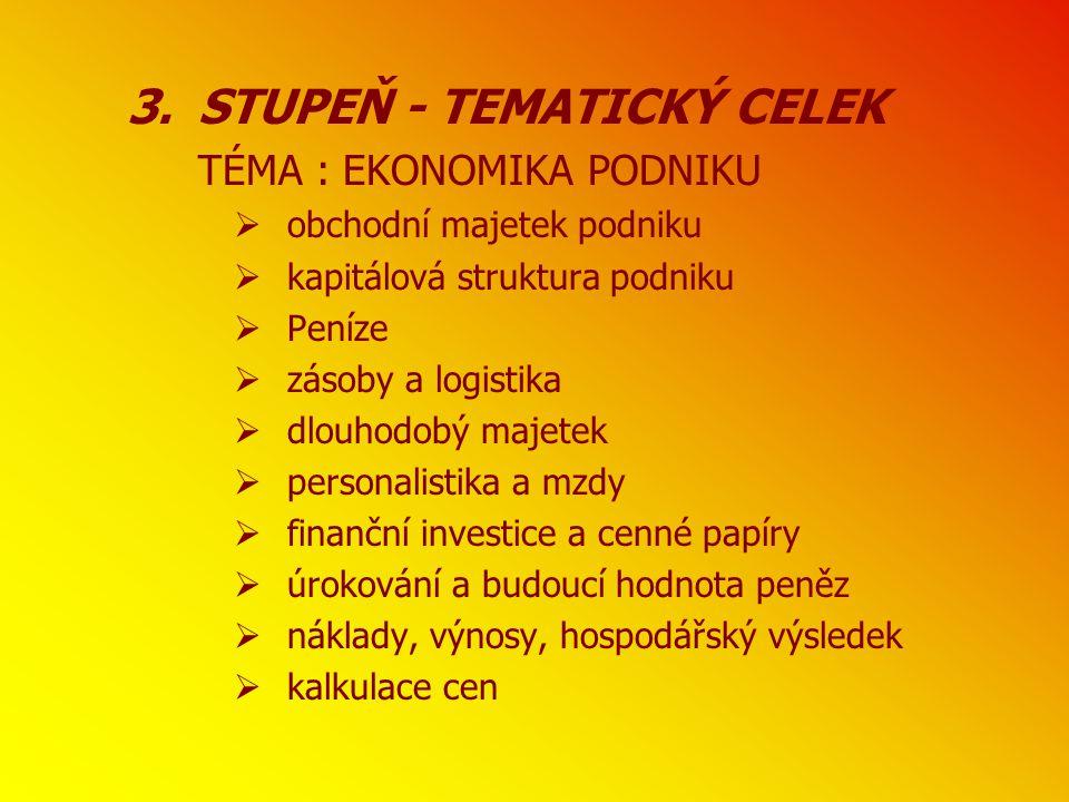 STUPEŇ - TEMATICKÝ CELEK