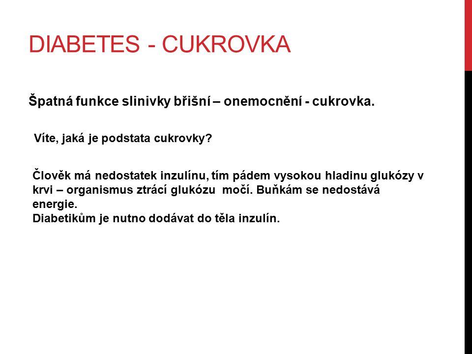 Diabetes - cukrovka Špatná funkce slinivky břišní – onemocnění - cukrovka. Víte, jaká je podstata cukrovky
