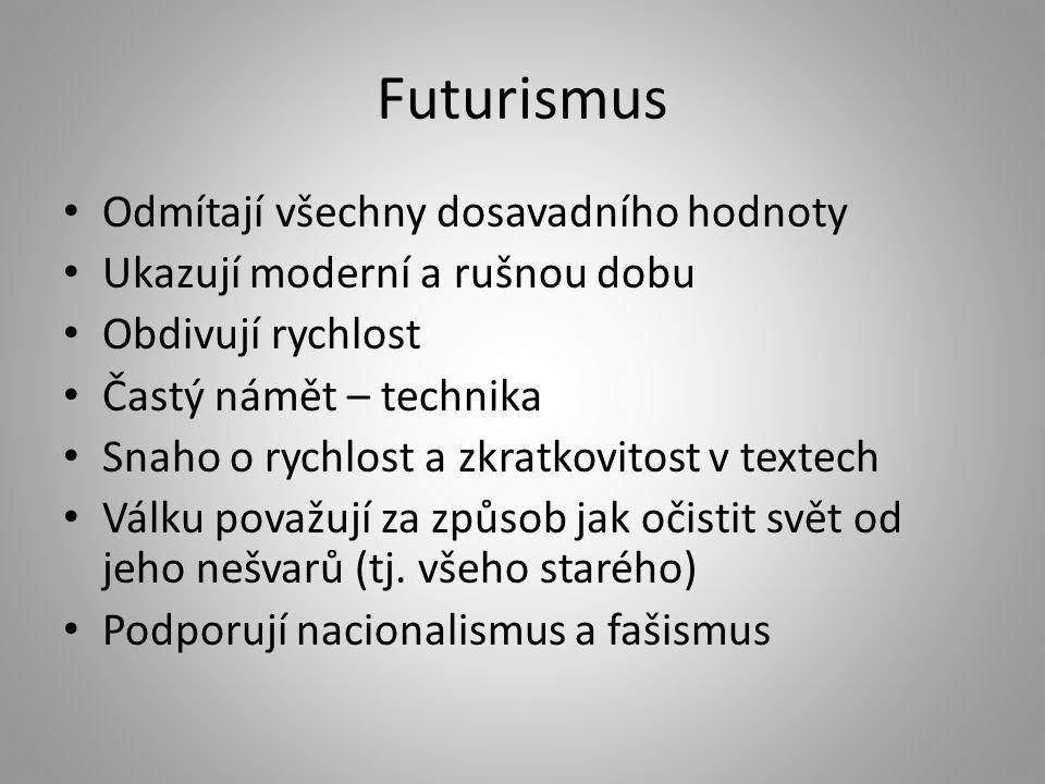 Futurismus Odmítají všechny dosavadního hodnoty