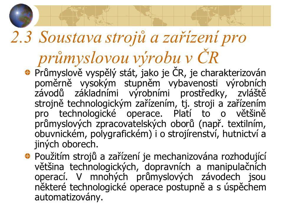 2.3 Soustava strojů a zařízení pro průmyslovou výrobu v ČR