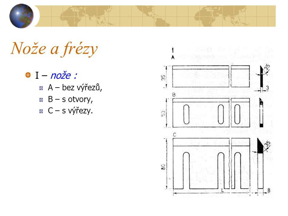 Nože a frézy I – nože : A – bez výřezů, B – s otvory, C – s výřezy.