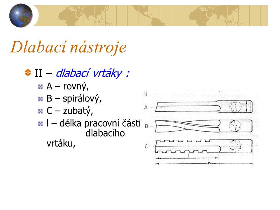 Dlabací nástroje II – dlabací vrtáky : A – rovný, B – spirálový,