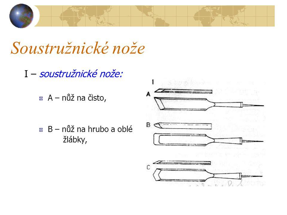 Soustružnické nože I – soustružnické nože: A – nůž na čisto,