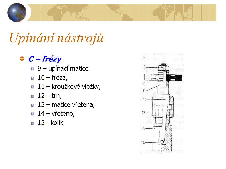 Upínání nástrojů C – frézy 9 – upínací matice, 10 – fréza,
