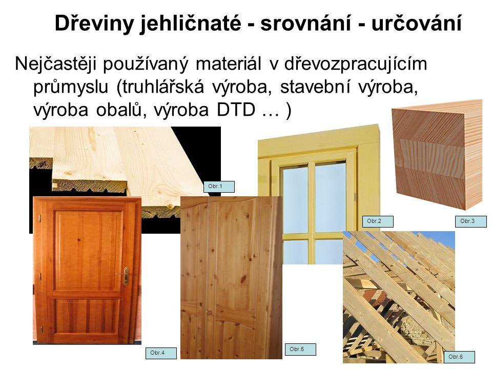 Dřeviny jehličnaté - srovnání - určování