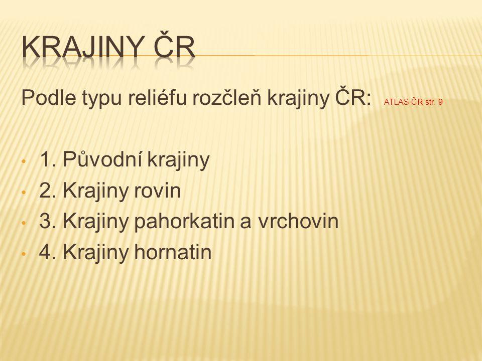 Krajiny čr Podle typu reliéfu rozčleň krajiny ČR: ATLAS ČR str. 9