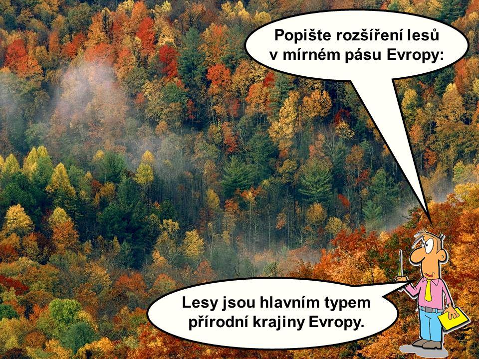 Popište rozšíření lesů v mírném pásu Evropy: