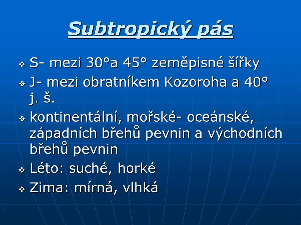 Subtropický pás S- mezi 30°a 45° zeměpisné šířky