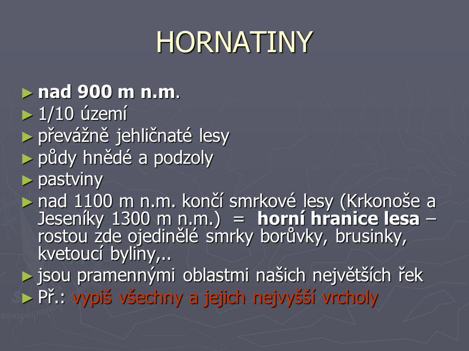 HORNATINY nad 900 m n.m. 1/10 území převážně jehličnaté lesy