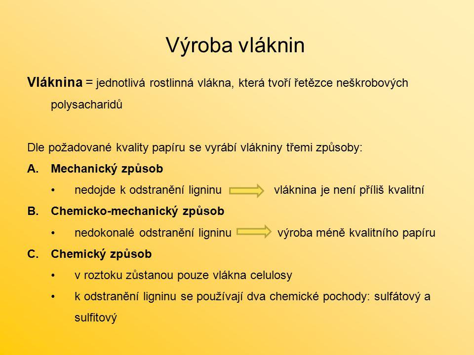 Výroba vláknin Vláknina = jednotlivá rostlinná vlákna, která tvoří řetězce neškrobových polysacharidů.