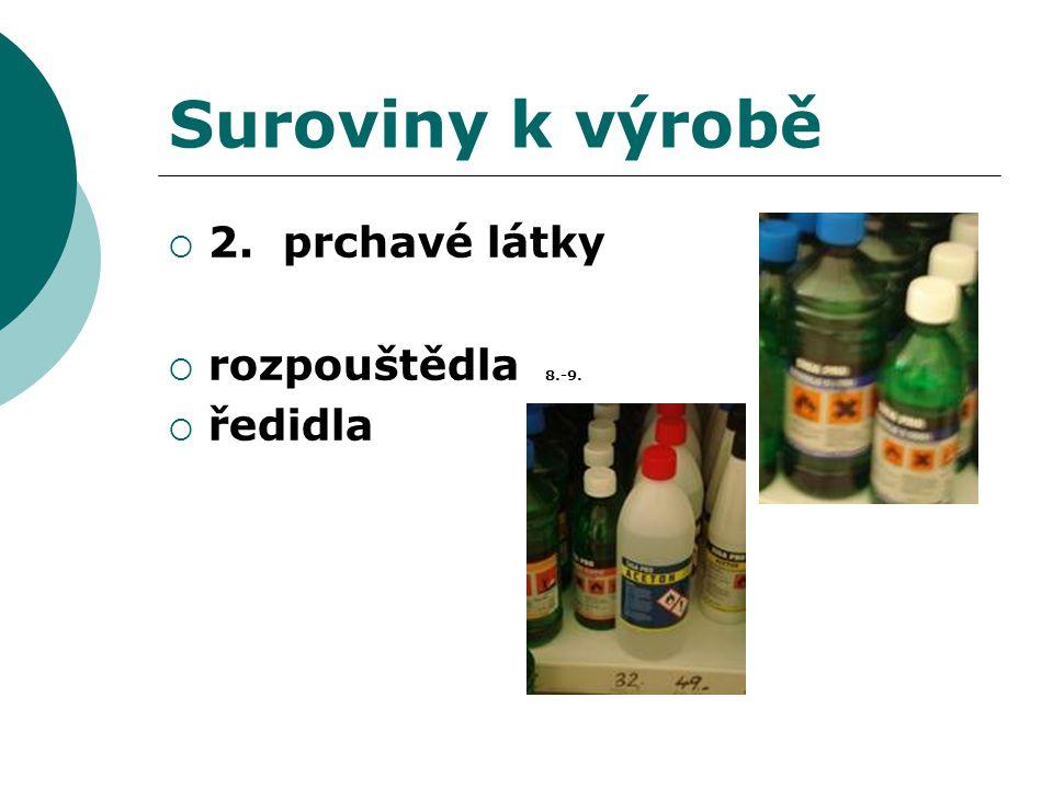 Suroviny k výrobě 2. prchavé látky rozpouštědla 8.-9. ředidla