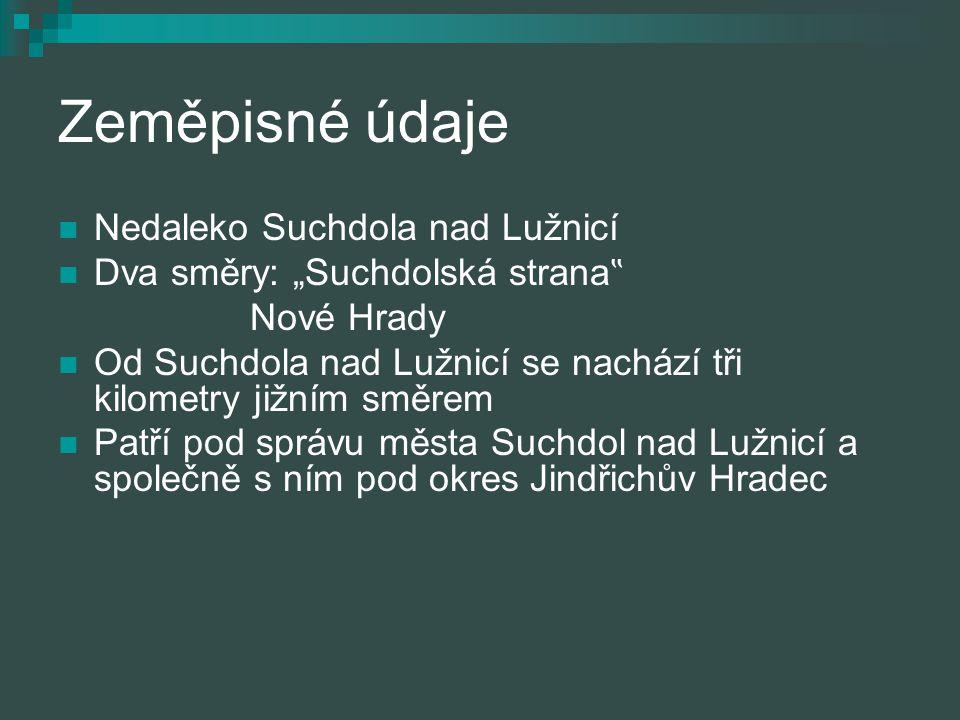 Zeměpisné údaje Nedaleko Suchdola nad Lužnicí
