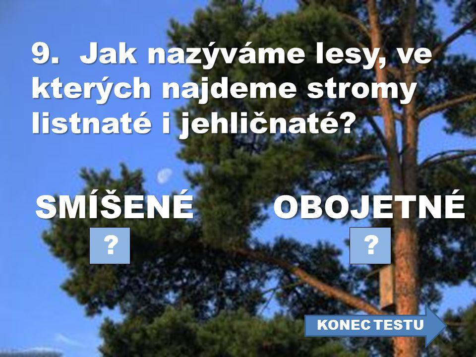 9. Jak nazýváme lesy, ve kterých najdeme stromy listnaté i jehličnaté