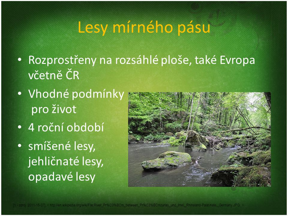 Lesy mírného pásu Rozprostřeny na rozsáhlé ploše, také Evropa včetně ČR. Vhodné podmínky pro život.