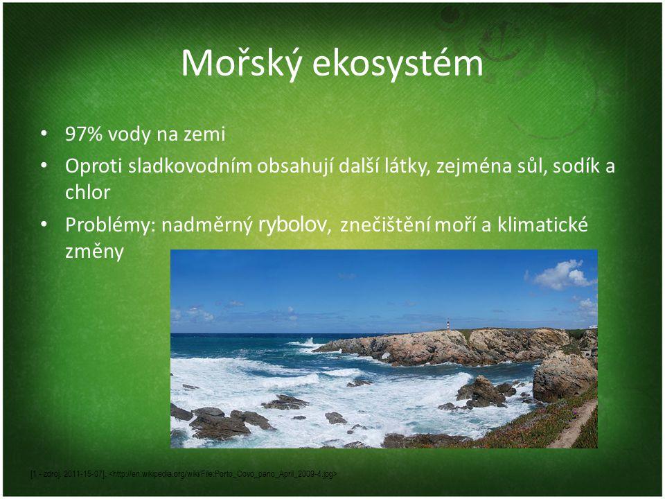 Mořský ekosystém 97% vody na zemi