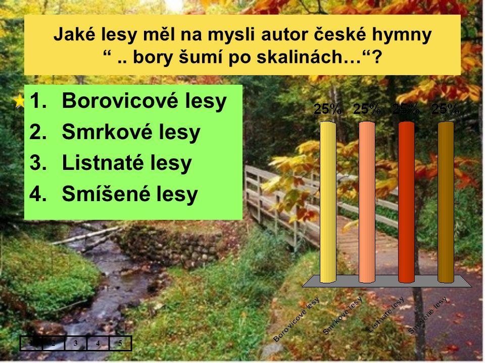 Borovicové lesy Smrkové lesy Listnaté lesy Smíšené lesy