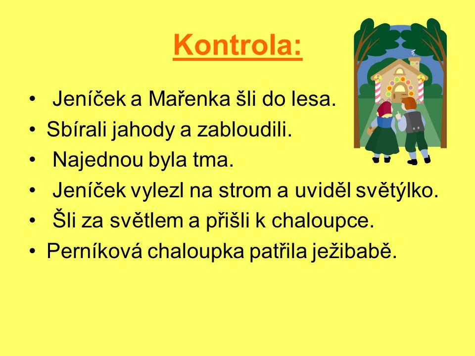 Kontrola: Jeníček a Mařenka šli do lesa. Sbírali jahody a zabloudili.