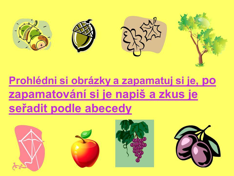 Prohlédni si obrázky a zapamatuj si je, po zapamatování si je napiš a zkus je seřadit podle abecedy
