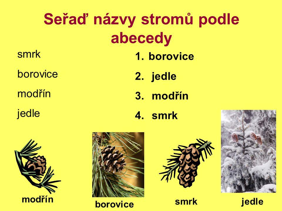 Seřaď názvy stromů podle abecedy