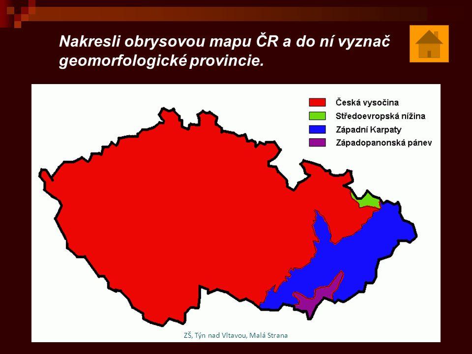 Nakresli obrysovou mapu ČR a do ní vyznač geomorfologické provincie.
