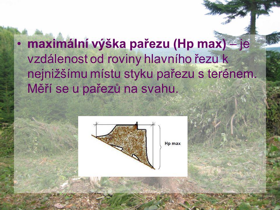 maximální výška pařezu (Hp max) – je vzdálenost od roviny hlavního řezu k nejnižšímu místu styku pařezu s terénem.