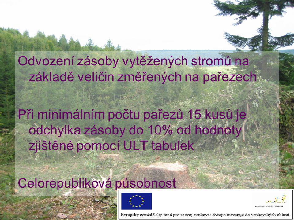 Odvození zásoby vytěžených stromů na základě veličin změřených na pařezech